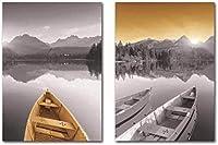 キャンバスウォールアートレイクビューホームウォールアート絵画写真カラーコントラストボートサンセットキャンバス印刷デコレーションポスター2枚20x30cmフレームなし