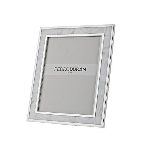Pedro Duran Rahmen mit Perlmutt Design, Silber, 21x 25cm