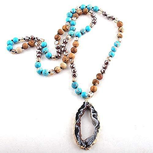 ZGYFJCH Co.,ltd Collar de Moda Bohemia Tribal Joyería Marrón Cristal/Piedra Natural Anudado Largo Irregular Druzy Stone Collares Pendientes para Mujeres