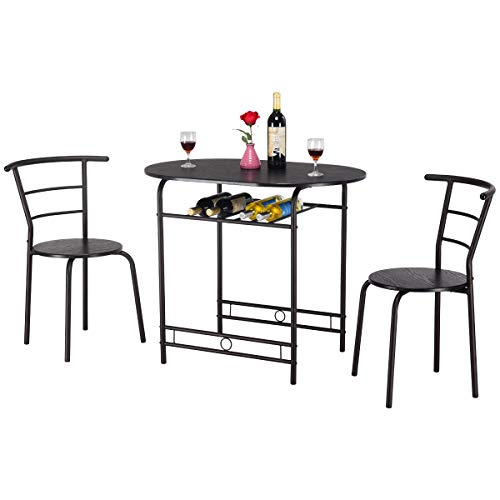RELAX4LIFE Set di Tavolo con 2 Sgabelli,Tavolo da Pranzo con Sedie in Legno e Metallo,Set di Mobili da Bar Salvaspazio per Balcone, Soggiorno e Cucina,91 x 61 x 76,5 cm (Lx P x A) (Nero)