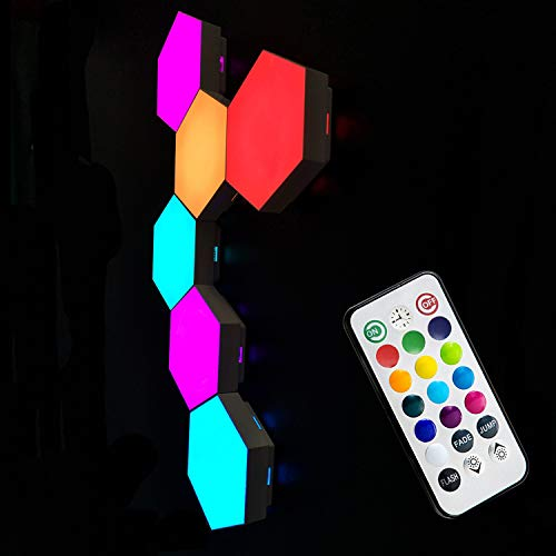 Tehoi Quantum Light Hexagonal Wall Light Touch Sensitive Modular Light DIY Quantum Lights Creative Geometry Assembly LED Night Light for Home Decor (6 Pack with US Adapter)