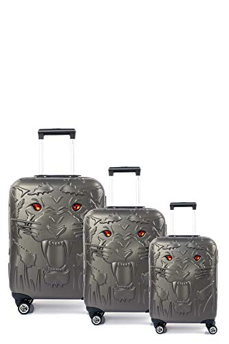 CCS Tiger Suitcase Durable 8 spinner wheels Travel Luggage Bag Trolley Lightweight Hardcase ABS (3Pcs FamilySet, Anthracite Grey)