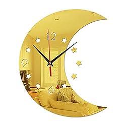 Wall Decor Art, Smilvy 3D Mirror Wall Clock for Living Room/Bed Room-Moon& Star Shaped,35X29cm (Gold)