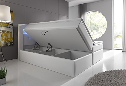 Boxspringbett 180×200 Schwarz mit Bettkasten LED Kopflicht Hotelbett Venedig Lift - 3