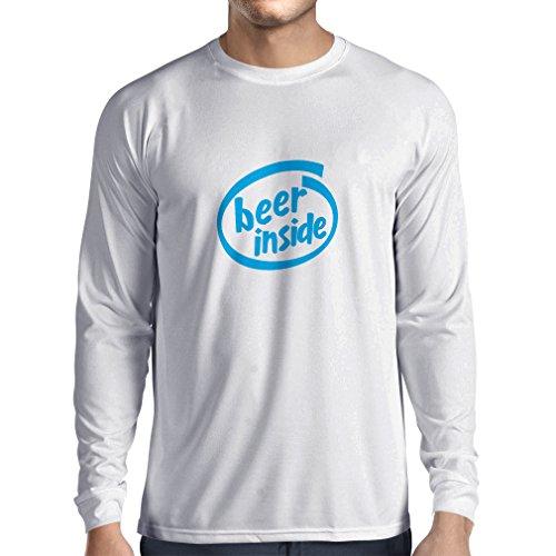 Langarm Herren t Shirts Bier innen - für Bierliebhaber, lustiges Logo, humorvolles Geschenk, Kneipe, Bar, Party-Kleidung (XX-Large Weiß Blau)
