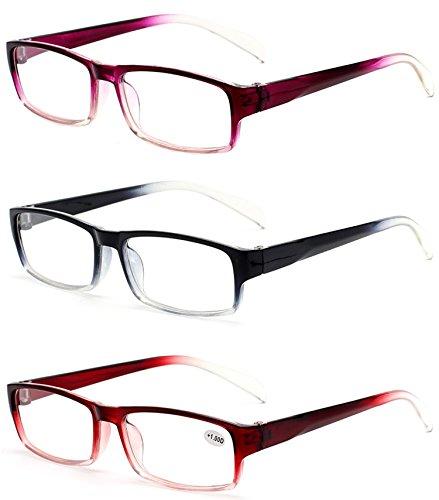 VEVESMUNDO Herren Damen Lesebrillen Lesebrille Rechteckige Designer Brille Sehhilfe Lesehilfe mit Sehstärke(3er Pack(3 Farben in selbene Dioptrien), 4.0)