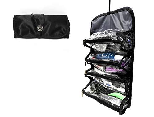 Roll-Up Travel Organizer 4 section Zippered Organize Toiletries Cosmetics Jewelry