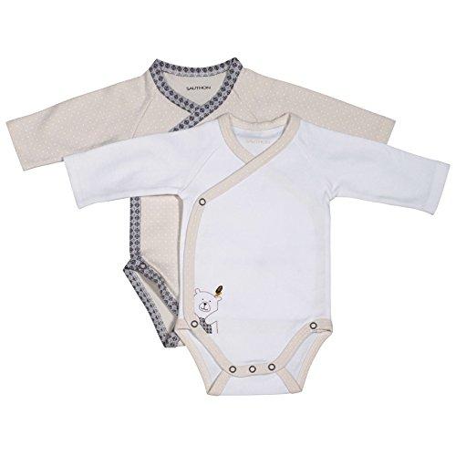 Lot de 2 bodies blanc/beige naissance Timouki - Sauthon