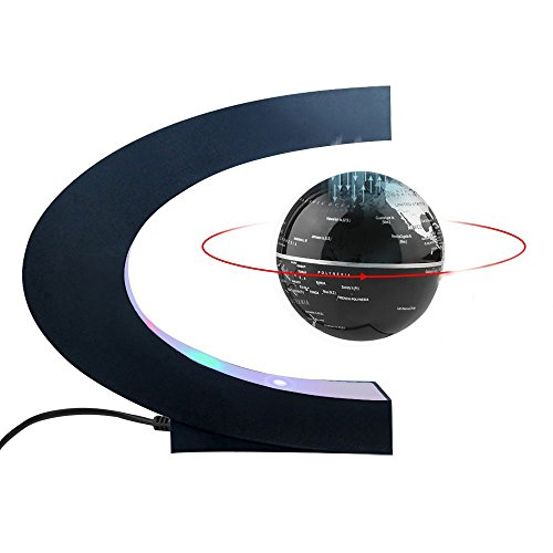 Magnetic Levitation Floating World Map Globe C Shape Base, 3' Rotating Planet Earth Globe Ball Anti Gravity with LED Light Lamp- Educational Gifts for Kids, Home Office Desk Decoration (Black+Silver)