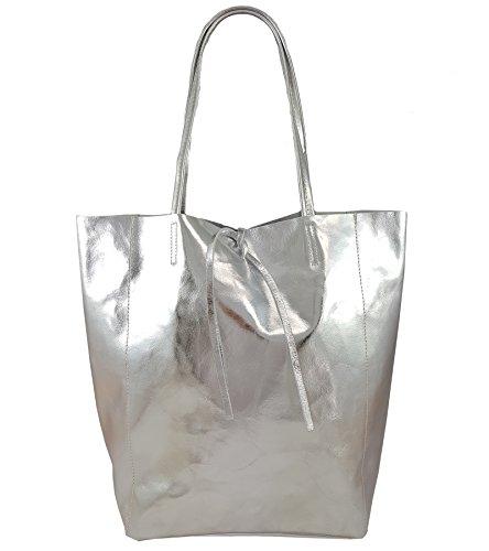Freyday Damen Echtleder Shopper mit Innentasche in vielen Farben Schultertasche Henkeltasche Metallic look (Silber Metallic)