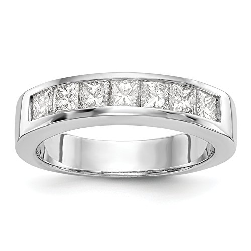 14ct White Gold 7-Stone Diamond Channel Wedding Band Ring, Size O
