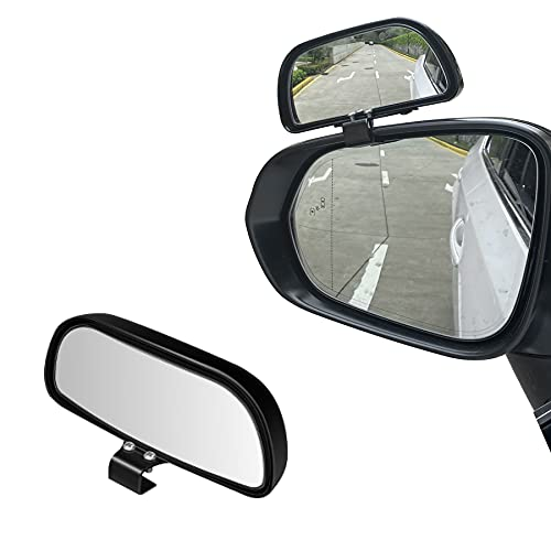 LivTee Adjustable 360 Degree Mounted Blind Spot Mirror HD Glass Wide Angle Side Rearview Mirror Universal, Black