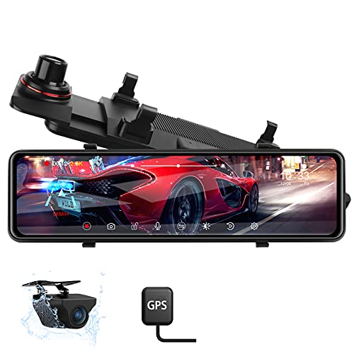 【Newest 11''】2.5k Mirror Dash Cam for Cars GPS Tracking Front and Rear IPS Full Touch Screen Rear View Mirror Camera backup Camera Night Vision Sony IMX 307 Starvis Sensor with Loop Recording G-Sensor