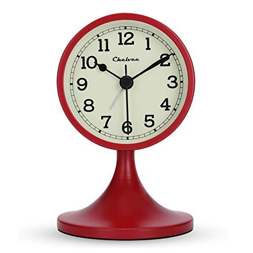Lafocuse 8 cm Despertador Rojo Metal Retro Moderno Analógico Silencioso con Soporte Extraíble Reloj de Mesa Antiguo Clasico para Mesilla Dormitorio