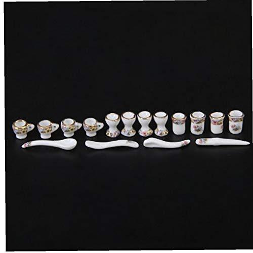 asdfwe 40 Pcs 01:12 Dollhouse Miniature Té Juego De Comedor Porcelana Juego De Té Placa Plato Taza De Té Pot Set