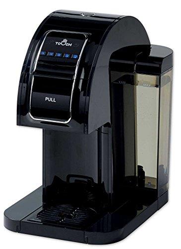 Touch Essential T214B - Cafetera de una sola porción, color negro con compatibilidad completa con cápsulas K-Cup y tecnología Rapid Brew