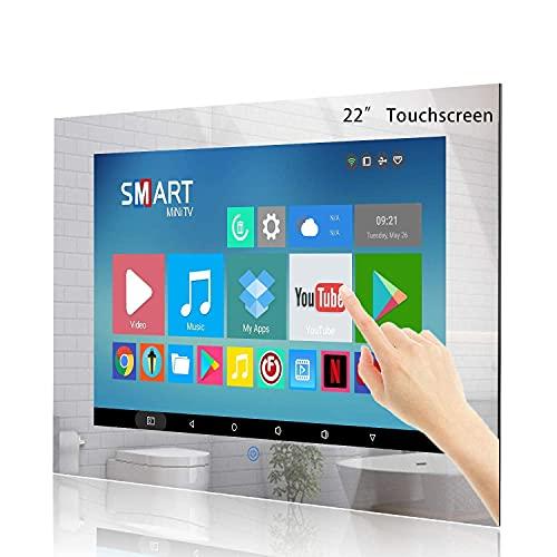 Haocrown 22 Zoll Touchscreen Smart Mirror TV für Badezimmer, IP66 wasserdichte Android Television Built-in Wi-Fi Bluetooth Wasserdicht Lautsprecher HDMI USB (Touchscreen, Spiegelrahmen)