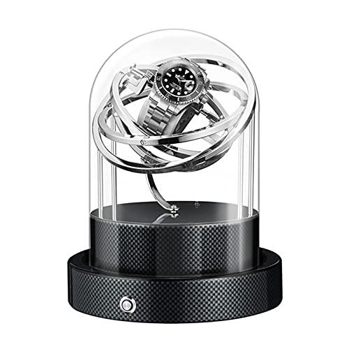 GUOYUN Caja De Winder De Reloj Automática para Relojes Mecánicos Moda Rotador Único Rotador Caja De Lujo Caso Transparente Reloj Rinder (Color : Carbon Fiber Silver)