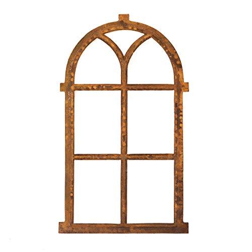 Antikas | Eisenfenster mit Rundbogen | ca. 98 x 54 cm | Fenster aus Gusseisen in antik Stil | für Gartenmauer, Gartenhaus und als Stallfenster