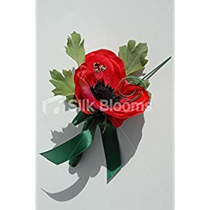 Single Red Anemone Poppy Buttonhole with Green Ribbon & Crystals
