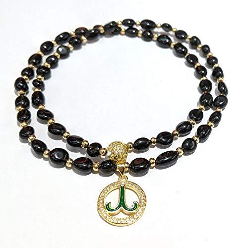 NUANYANG Modetrend zwölf Sternbild Halskette Armband Set Naturstein Erdbeer Kristall perfekte Damen Geschenk-Obsidian Widder Halskette