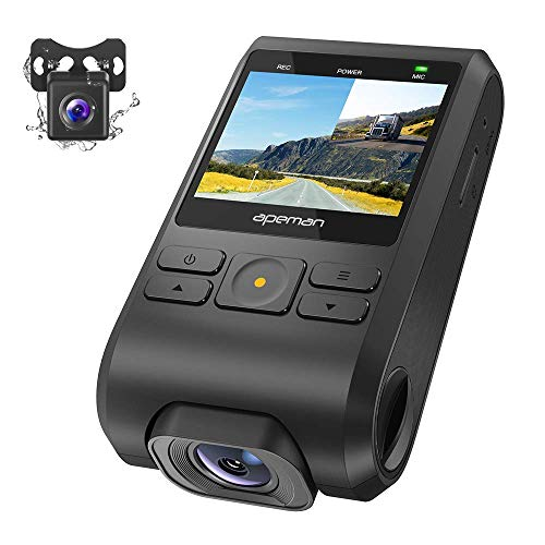 APEMAN Dash Cam Front and Rear 1080P Full HD Dual Lens Car Camera with IPS Screen, 170°Wide Angle, Support GPS, G-sensor, WDR, Night Vision, Motion Detection, Parking Monitoring