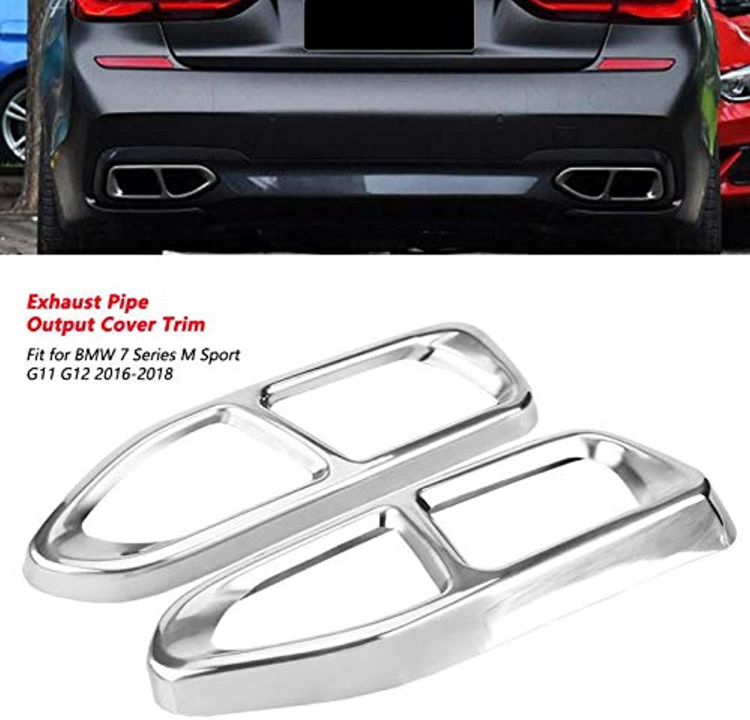 2Pcs Tail Exhaust Pipe Output Cover Trim Frame for BMW 7 Series M Sport G11 G12 2016 2017 2018 High Quality