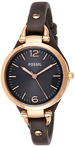 Fossil Women's Georgia Quartz Leather Three-Hand Watch, Color: Rose Gold, Grey (Model: ES3077)
