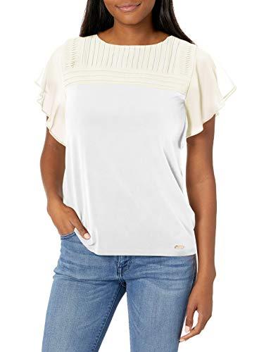 Calvin Klein Damen Short Sleeved Hemd, Kurzarm, X-Groß