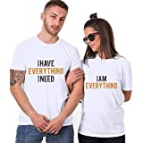 aihihe Wedding Matching Valentine's Day T-Shirt Couples T-Shirts for Boyfriend & Girlfriend Letter Print Tees White
