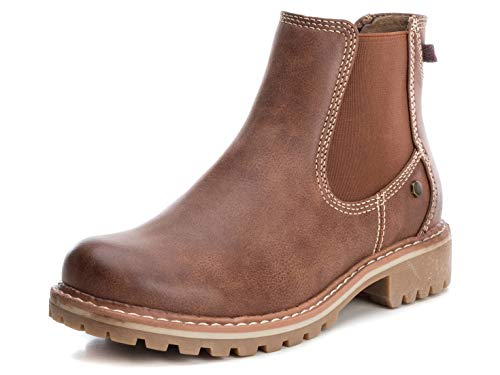 XTI Damen Stiefeletten Camel PU Ladies Ankle Boots, 69128 Camel braun 628916