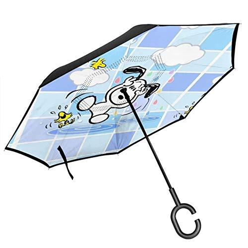 guatan Reverse Inverted Umbrella, Double Layer Windproof Duschkabine von innen nach außen Klappbarer Regenschirm mit C-förmigem Griff