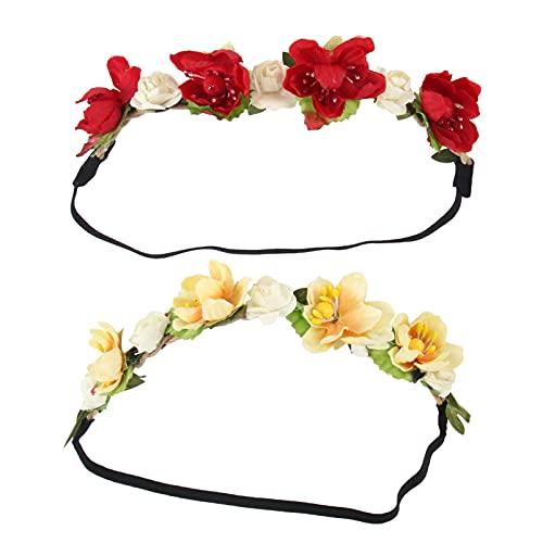 Uonlytech 2 cintas elásticas para el pelo, diseño floral para niñas, con simulación de flores, hechas a mano, para recién nacidos y niños pequeños