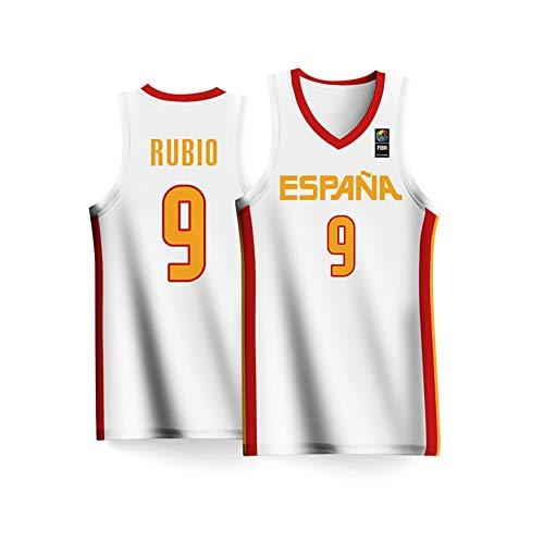 Haoshangzh55 Azul de 2019 Hombres de la Copa Mundial de Baloncesto España Equipo Nº 9 Baloncesto Ricky Rubio Jersey Jersey Gran Hijos Adultos,XXL