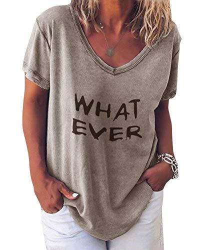 Minetom Damen Sommer Kurzarm Blusen T-Shirt V-Ausschnitte Loose Oversize Shirt Einfarbig Casual Brief Bedruckt Asymmetrisch Oberteile Top C Kaffee DE 44