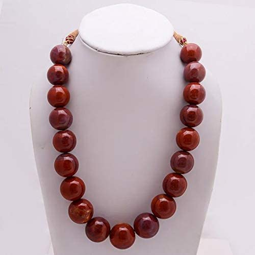 GemAbyss Beads Beauty products Gemstone red Jasper Necklace Siz 16'' Special sale item Round