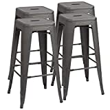 Furmax 30 Inches Metal Bar Stools High Backless Stools Indoor Outdoor Stackable Kitchen Stools Set of 4 (Grey)