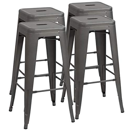 Matte Black, Set of 4 CIMOTA Metal Counter Stools 26 inches with High Backs Industrial Patio Bar Chair Cafe Side Stool for Kitchen Indoor Outdoor