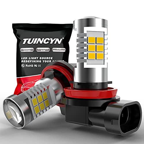 TUINCYN H11 H8 H9 Ampoule antibrouillard LED Lampe DRL 2835 21SMD 6500K Feux de jour à conduite automatique LED extrêmement brillants 10,5 W DC 12 V (pack de 2)
