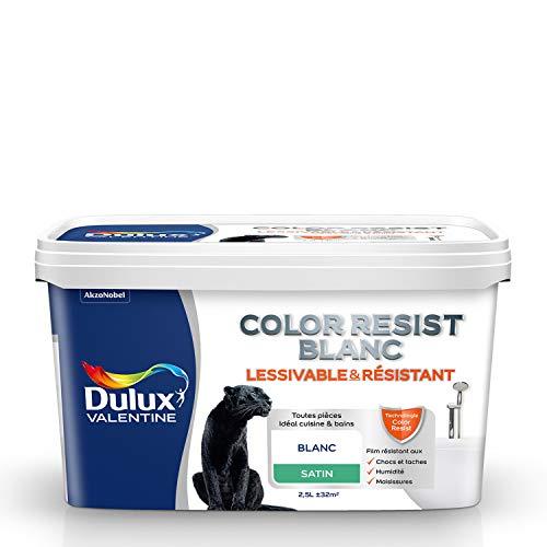 Dulux Valentine Peinture Color Resist - Murs et Plafonds - Satin Blanc 2,5L