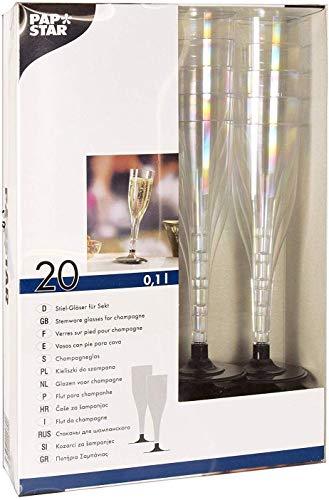 Papstar Plastik Sektglas / Stiel-Glas 0.1 l (20 Stück) glasklar, mit schwarzem Fuß, aus stabilem Polystyrol, für festliche Anlässe und Feiern, #12196