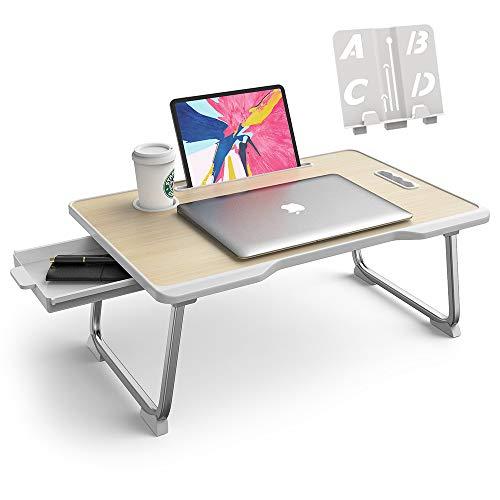Elekin - Mesa de ordenador portátil, soporte para portátil, con ranura para tazas, para cama, sofá, lectura y desayuno (60 x 40 cm) ⭐