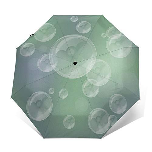 Paraguas automático de tres pliegues con impresión exterior 3D de jabón, burbujas de color verde, protector solar impermeable, resistente al viento, plegable, para hombres y mujeres al aire libre