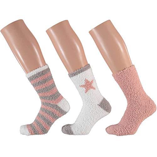 3 Paar Kuschelsocken 35-42 Bettsocken Damen Kuschel Socken Haussocken (Rosa-Weis-Mix)