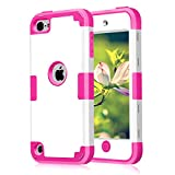 Case for iPod Touch 5 Case for iPod Touch 6 Case, 3 in 1 Hard PC Case + Silicone Shockproof Heavy Duty High Impact Armor Hard Case Cover for Apple iPod Touch 5 6th Generation (White+hot Pink)