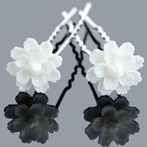 Power of Parfumes Lot de 6 Utsunomiya® Magnifique blanc fleur épingles à cheveux haarpin spirales en perles strass, Mariée Mariage Cérémonie cheveux b