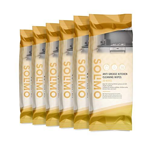 Marca Amazon - Solimo Toallitas Limpiadoras Antigrasa para Cocina - 120 Toallitas, Envase de 6: (20 x 6 Toallitas)
