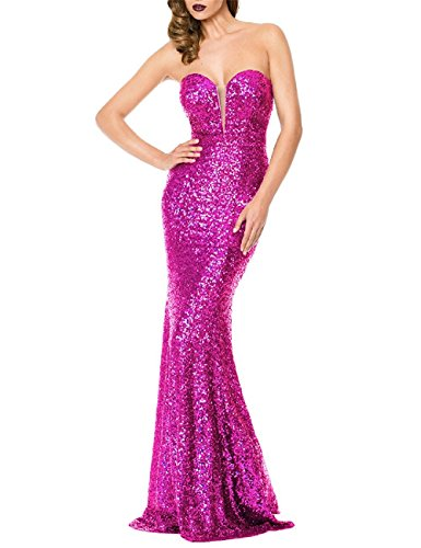 Ruisha Women Sequins Strapless Mermaid Formal Bridesmaid Party Prom Evening Dresses Gowns Long 2018 RS0006 US 24W Fuchsia