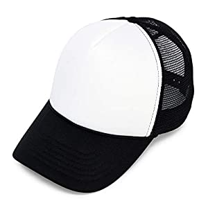 5a4d60e7fb5  7 DALIX Two Tone Summer Mesh Cap in Black and White Trucker Hat