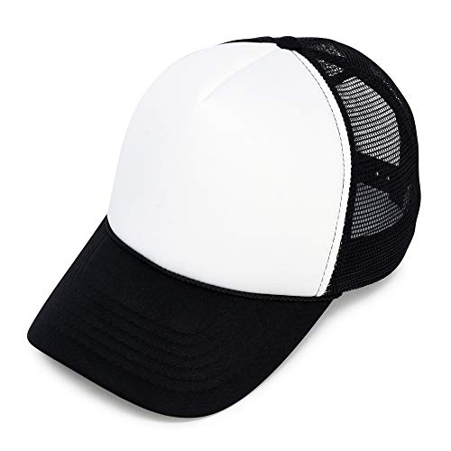 Two Tone Summer Mesh Cap in Black and White Trucker Hat